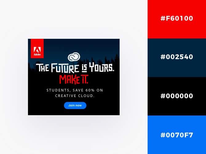 Nguyên tắc kết hợp màu sắc : Ví dụ Adobe