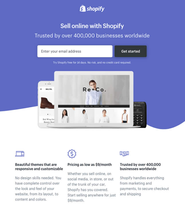 Thiết kế Landing Page 2019 : Landing Page Shopify