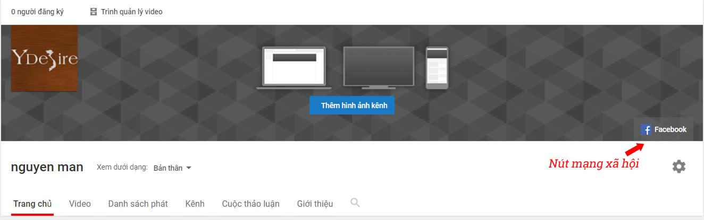 Mẹo thiết kế banner youtube : Thêm nút mạng xã hội